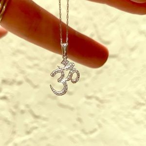 Diamond and white gold Om necklace